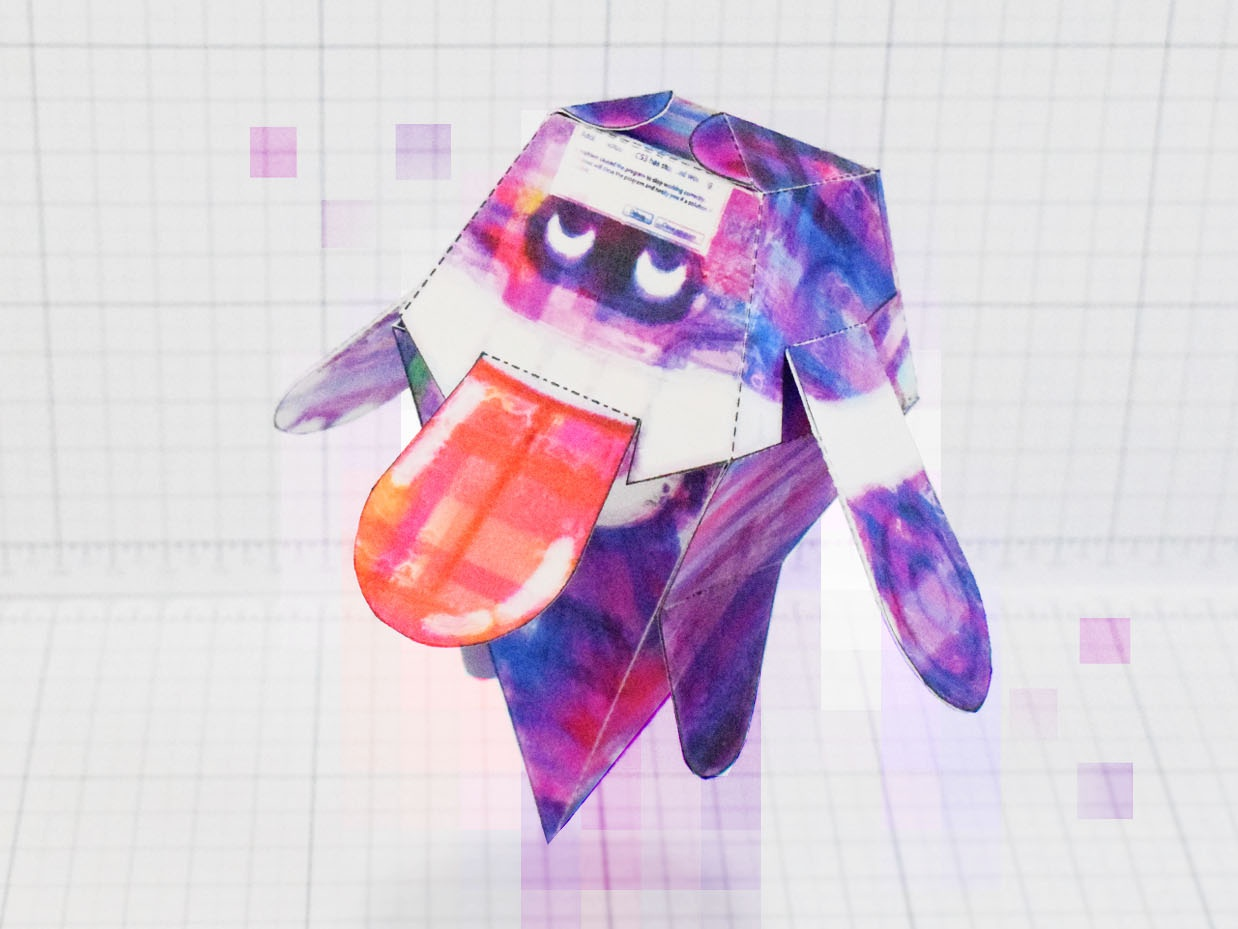 Pti  Glitch Ghost Monster Paper Toy   Float