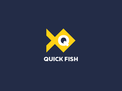 Quick Fish Game Logo fish logo flat logo fish quick fish game logo game logo