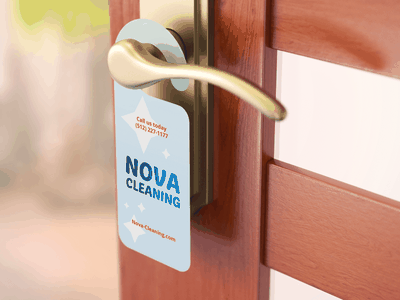 Custom Door Hanger for Nova Cleaning branding cleaning services cleaning service cleaning company marketing marketing collateral door hanger