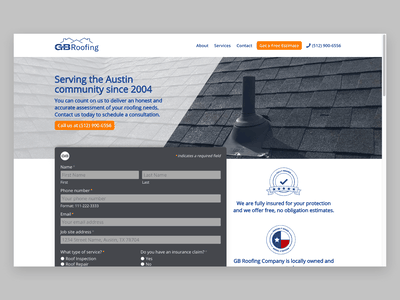 GB Roofing Company Website Design responsive construction company construction roofs roofing roof form design form graphic design illustration uiux ux ui web design website branding