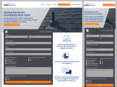 Responsive Design of GB Roofing Company Website illustration ui css web design website branding responsive design responsive website design responsive website responsive