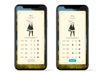 07 Character Screen mobile stats character screen visual design ui design ui ux design ux design game