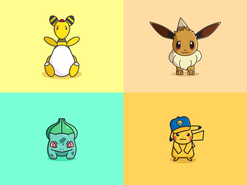 2018 Top 4 Shots vector character fun cartoon gameboy cute nintendo pokemon illustration