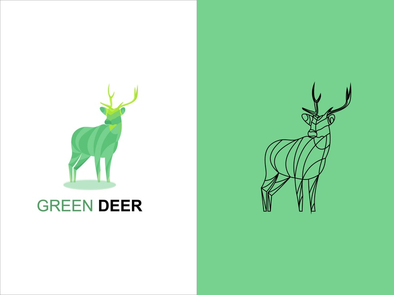greenderr deer logo logodesign