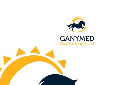 Ganymed typeface icon social media. illustration gremany power horse logo design logo branding