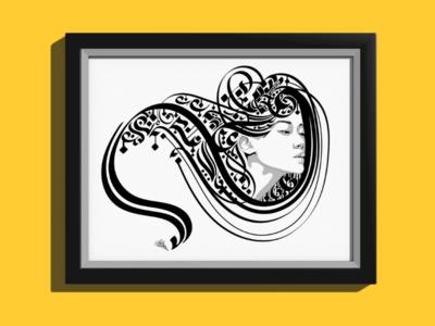 Light as the wind -artwork 2- new lettering letter monochrome fine art design portrait line art vector typography calligraphy