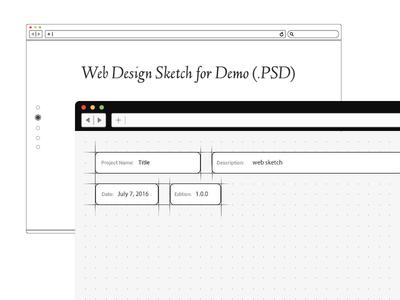 Free Mockup Of Web Design Sketch For Demo (PSD)