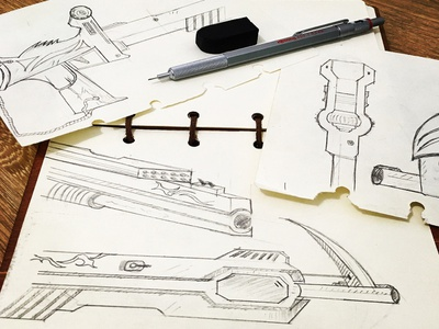 Weapon Sketch of CF weapons uidesign draw draft sketch cf game design ui weapon
