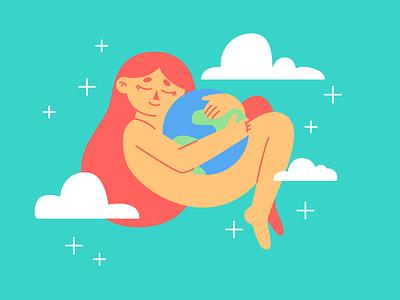 Cuddling with Earth girl character earthday earth character illustration cute illustration illustrator cute adobe illustrator design vector