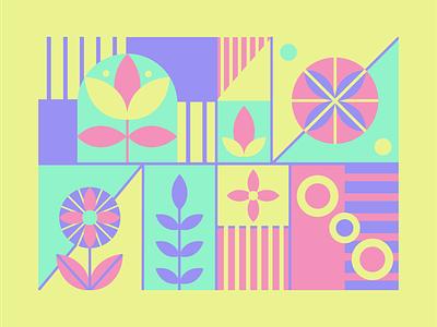 Geometry pink flowers geometric design geometric art geometry illustration illustrator adobe illustrator design vector