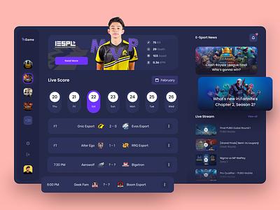 Live Score E-Sport Dashboard startup uidesign clean game event cup league tournament dark theme dark mode streaming app score live esports esport dashboad