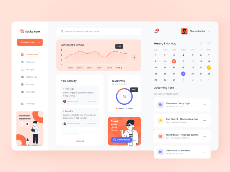Eduka Dashboard dashboard design course school e learning group web design bootstrap clean simple orange app managment learning app education startup apps ui website dashboard