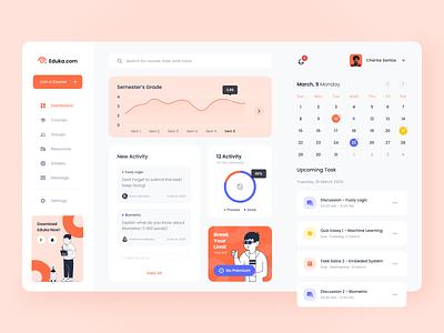 Eduka Dashboard dashboard design course school e learning group web design bootstrap clean simple orange app managment learning app education startup apps ui website dashboard