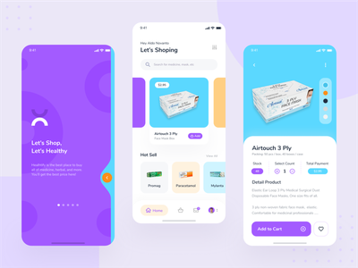 Pharmacy Mobile App Exploration stayathome startup card home purple simple android iphone mobile app mobile uidesign shop health health app healthcare drugstore blue clean ui pharmacy