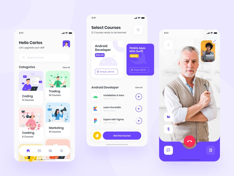 eLearning Application - Online Resources creative startup online learn learning app students learning teacher courses course educational education illustration concept app mobile app design ux ui mobile