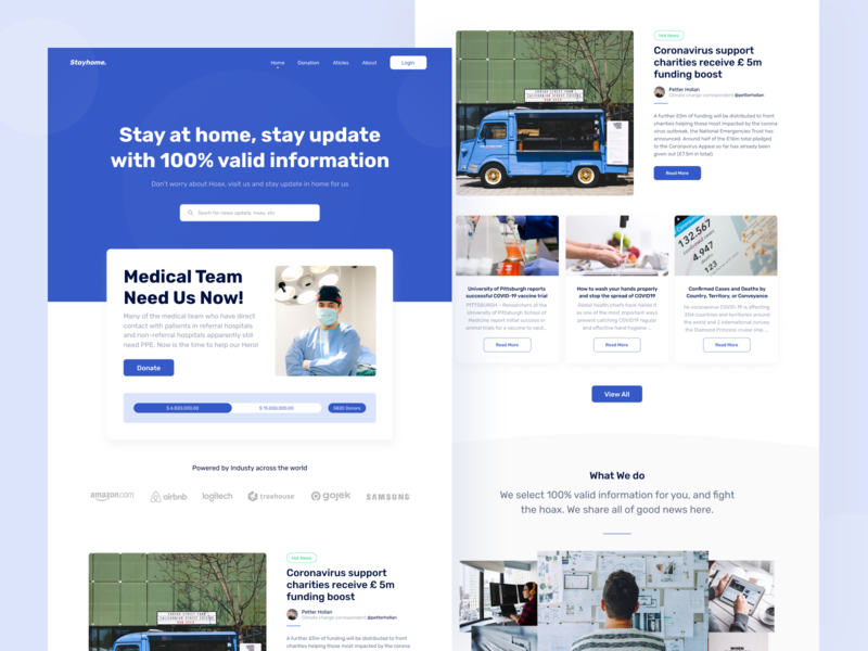 Stayhome Landing Page simple news wesite bootstrap blog clean ui article medical covid-19 covid19 hoax donation donate blue startup landing page