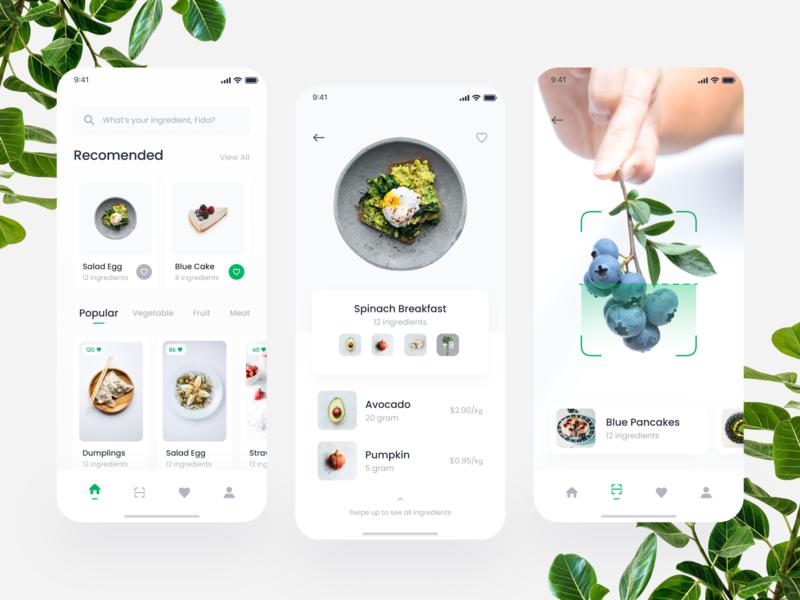 Cooking Mobile App Exploration food leaf recipe cake scanner scan navbar card ui design mobile clean startup green food app cooking app ingredients chef cook vegetable fruit