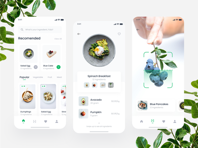 Cooking Mobile App Exploration food leaf recipe cake scanner scan navbar card ui design mobile clean startup green food app cooking app ingredients chef cook vegetable fruit