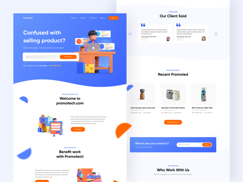 Promotech Landing Page Exploration footer header hero search ui uidesign simple product promote orange blue company profile website landing page startup clean illustration product design 3d promotion