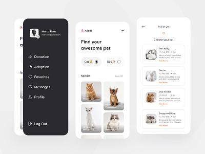 Adope Mobile App Exploration mobile app flutter app ui card home slide simple clean startup mobile uidesign pet care animal pet shop pet dog cat adopt adoption