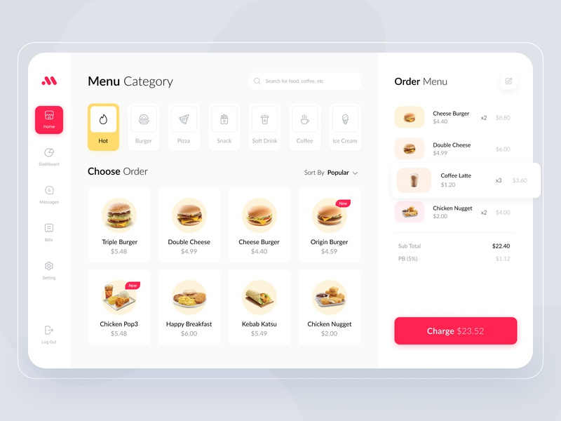 Cashier Dashboard App Exploration shope cash dashboard ui clean ui ui startup order burger restaurant food button card clean website ui design charge ipad tablet cahsier dashboard