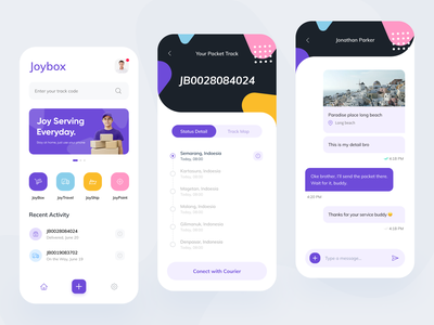 Joybox Mobile App Exploration delivery travel packet ios android clean blue message chat startup service card simple mobile ui ux ui design transportation transports logistics transport