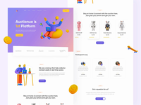 Auction Landing Page Exploration blue site transition header company profile 3d illustration ui design startup clean simple trend animation testimonials footer bootstrap website 3d website landingpage auctions auction