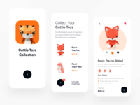 Toys Store Mobile App Exploration mobile design splash screen shopping app shop simple startup app card ux design ui design clean clean ui clean design toy store toystore toys mobile ui mobile app mobile