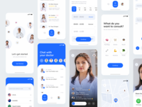 Doctor Consultation UI KIT signup login screen share ios mobile ui mobile design mobile mobile app ui kit map live streaming live stream number login with number consulting doctor app doctors startup consultation doctor