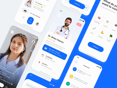 Doctor UI Kit Exploration healthcare clean flutter ios mobile apps consultant doc ui kit doctors consulting consultation blue uidesign mobile ui mobile animation mobile app doctor appointment doctor app doctor