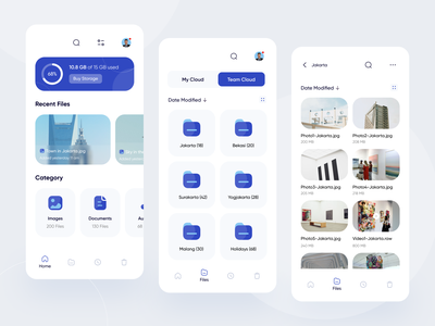 File Manager Mobile App Exploration mobile app design file sharing saver card slider navbar ios mobile design mobile ui files folders folder file manager file clouds cloud app ui design mobile app mobile cloud