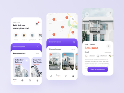 Property Mobile App Exploration search maps map blue properties home screen card clean startup house apartment ios app mobile design mobile ui property property search houses mobile app mobile