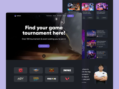 Tournament eSport Landing Page Exploration ui design landing pages landing page events card website concept website design tourney tournaments game gaming dark theme dark mode bootstrap landingpage websites animations animation website tournament