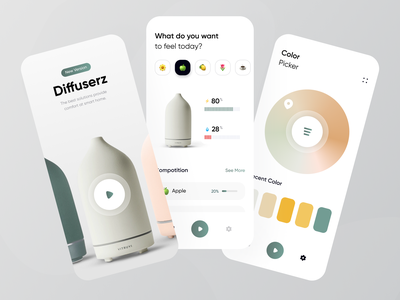 Diffuser Mobile App Exploration ☘️ color ux design ui design simple design clean products product control remote control remote card uidesign mobile design parfume simple mobile apps mobile ui mobile app mobile diffuser
