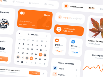 UI Component Exploration stock barcode orange clean voice over component library ui design product design product cards card picture graphic chart calendar ui calendar component design startup ui component