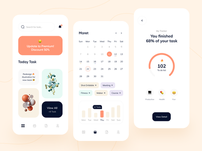 Daily Productivity Mobile Exploration ⏰ schedule productivity app pomodoro mobile design navbar card ios app startup clean ui mobile app design chart calendar productivity daily uidesign mobile ui mobile apps mobile app mobile