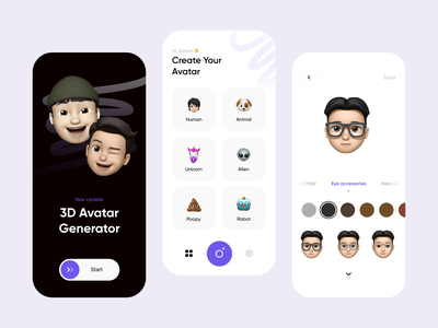 3D Avatar Generator Mobile Exploration memoji app emoji set 3d illustration clean mobile design ios avatar generator generator mobile ui mobile app design memoji emoji app 3d avatar emoji emojis card mobile apps mobile mobile app