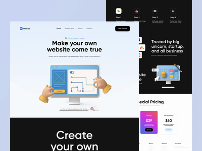 WeSite Landing Page Explroration saas website ui design landingpage landing pages web design saas landing page pricing card pricing 3d illustration illustration prototype animation animations animation prototype principle website design websites web website