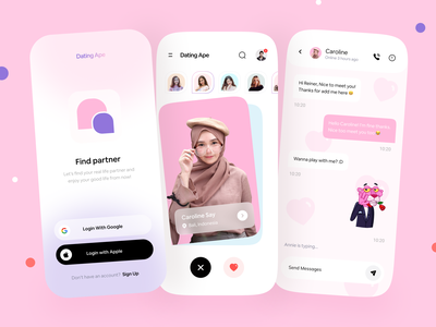 Dating App Mobile Exploration dating logo dating social network social app swipe logo branding splashscreen login story card sticker messager chat partner love mobile app ios dating app design dating app