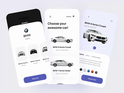 Car Store Prototype Exploration store app mobile design app card shop shopping app car store bmw android store product principle prototyping prototype animation design animation ios mobile ui mobile app mobile