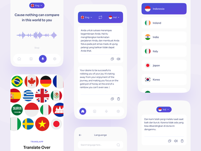 Translator Mobile App Exploration 🇬🇧 mobile app design mobile ui voice over voice form list select select country on boarding splash screen translation translator language learning language app language flag mobile app mobile app translate