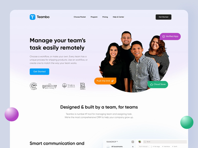 Teambo - Landing Page Exploration Animation animation after effects web animations website design web design header footer app company gradient web animation principle animation design startup team landing pages websites website landing page web animation