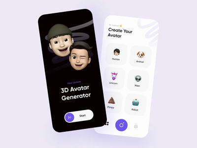 3D Avatar Generator Mobile Prototype prototypes simple animation interactions interaction emojis emoji set flutter ios app ios mobile app mobile change color color prototyping prototype animated animation memoji emoji 3d