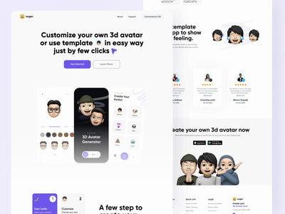 3d Avatar Generator Website 🤖 ios website concept websites animations prototype principle emojis hero header card animate animated animation webflow website app emoji memoji website design website web