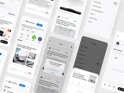 Domoco News UI KIT 📰 social app social media ui kit animations animation mobile app app mobile design reading reading app articles article newsletter newspaper news app newsfeed news read mobile ui mobile