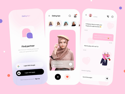 Dating App Prototype Exploration 💖 figma animate prototyping principle onboarding message chat motion graphics animations pink app pink love match dating app ios mobile app interaction prototype animation mobile