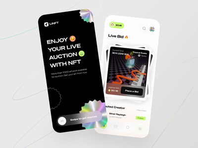 NFT Mobile App Animation after effect prototype principle animation auction cryptocurrency startup ui design ios swipe market doge coin crypto bitcoin trading trade nft app nft mobile app mobile