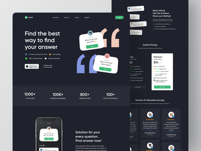 Askall Landing Page Exploration 💬 hero section section components component hero header card startup simple web darkmode answer ask askall ui web ui wordpress webflow web website landing page