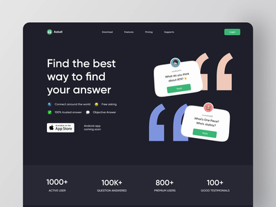 Askall Landing Page Animation 💬 scroll effect paralax ui design ui webapp simple animation prototype web animation web design web website askall landing page animations animation