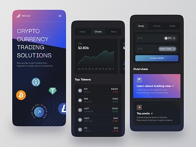 WeTrade Mobile App Exploration ui design dark mode dark trading convert splash screen ux ui flutter ios apps startup coin crypto swap trade mobile app app mobile